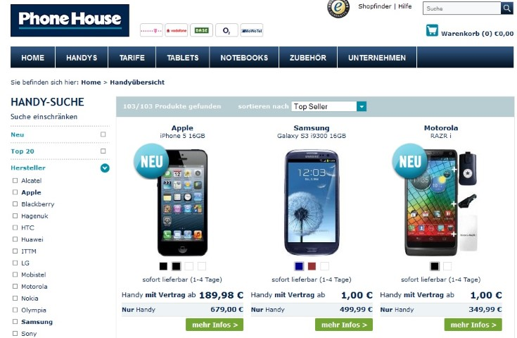 Phonehouse Angebot