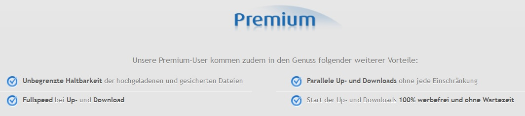 Übersicht Uploaded Premium